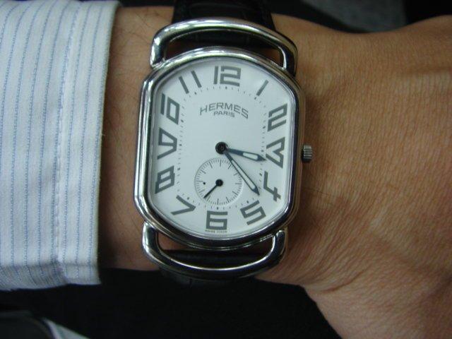 台中 流當品拍賣 原裝 HERMES 愛馬仕 不鏽鋼 石英 男女錶 9成5新 附盒單
