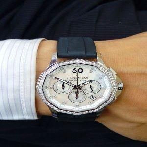 台中流當手錶拍賣 原裝 CORUM 崑崙 海軍上將 計時 鑽圈 貝殼鑽面 自動 男錶 9成5新 喜歡價可議