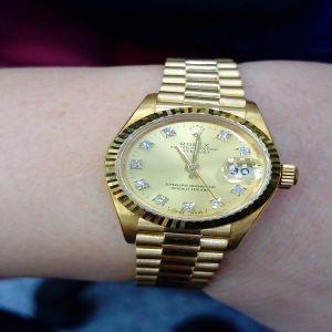 台中流當手錶拍賣 原裝 勞力士 69178 18K金 十鑽 女錶 9成5新 喜歡價可議